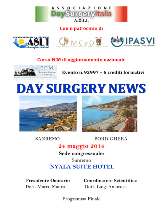 DAY SURGERY NEWS - ASL n. 1 Imperiese