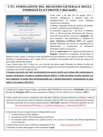 CTU: FORMAZIONE DEL REGISTRO GENERALE DEGLI INDIRIZZI