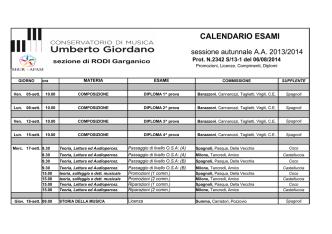 Calendario esami sessione autunnale a.a. 2013.14 Rodi Garganico