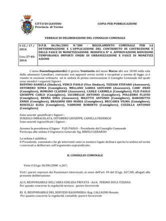 DCC n°17/2014: APPROVAZIONE RIDUZIONE TEMPORANEA