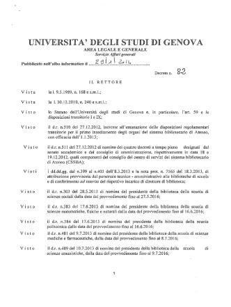 D.R. n. 82 del 29.1.2014. - Università degli Studi di Genova