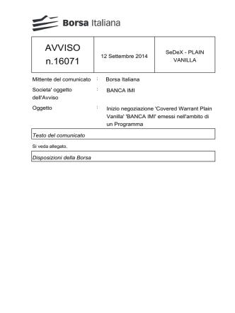 AVVISO n.16071 - Borsa Italiana