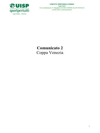 Comunicato 02 Coppa Venezia