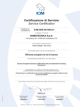 Certificazione di Servizio Service Certification