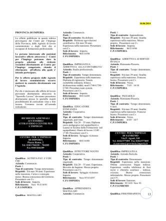 16.06.2014 PROVINCIA DI IMPERIA Le offerte