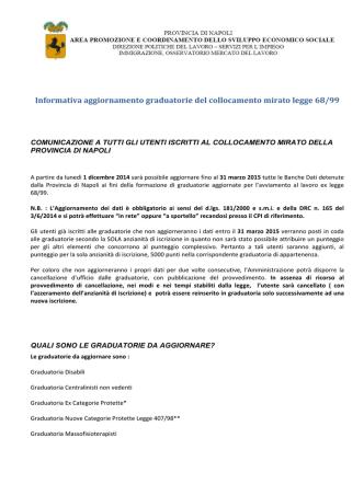 5.informativa graduatorie del collocamento mirato legge 68/99