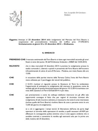 Anticipo al 23 dicembre 2014 dello svolgimento