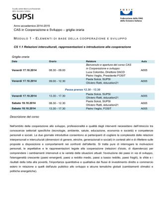 CAS in Cooperazione e Sviluppo – griglia oraria