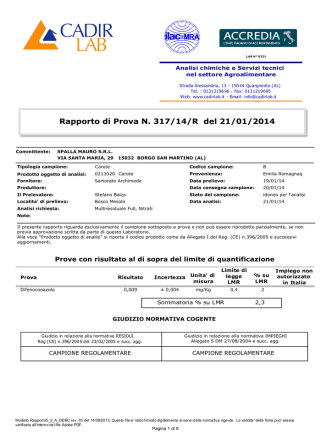 Analisi Carote 21.01.2014 Parte I