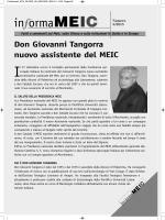 Don Giovanni Tangorra nuovo assistente del MEIC