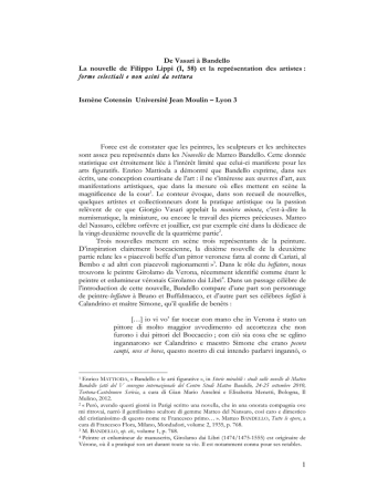 1 De Vasari à Bandello La nouvelle de Filippo Lippi (I
