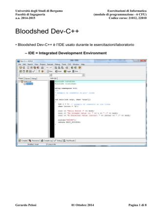 Bloodshed Dev-C++ - Università degli studi di Bergamo