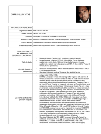 Curriculum - Provincia di Venezia