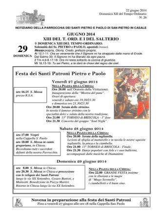 22 giugno - Parrocchia di San Pietro in Casale