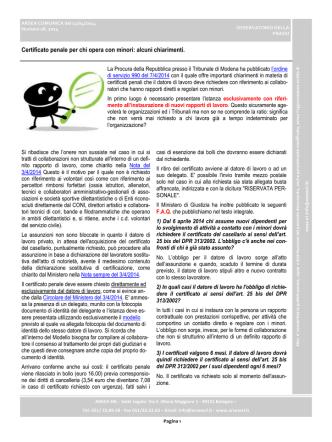 Certificato penale per chi opera con minori: alcuni chiarimenti.