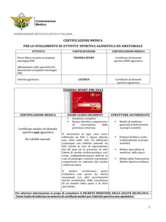 Certificazione Medica - Federazione Motociclistica Italiana