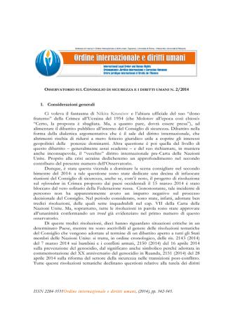 Considerazioni generali - Ordine internazionale e diritti umani