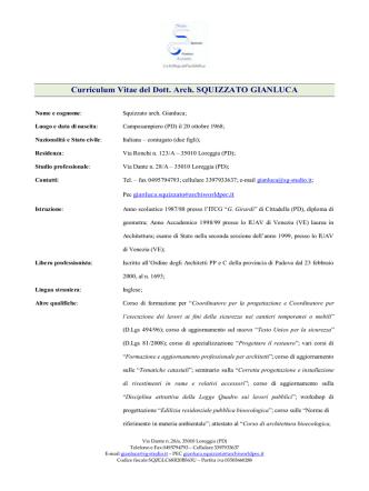 Curriculum Vitae - Comune di Loreggia