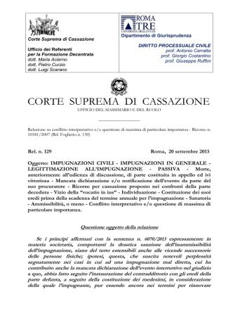 CORTE SUPREMA DI CASSAZIONE - Facoltà di Giurisprudenza