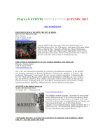 ITALIAN EVENTS NEWSLETTER AUTUMN- 2013