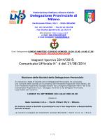 Comunicato Ufficiale N° 6 del 21/08/2014