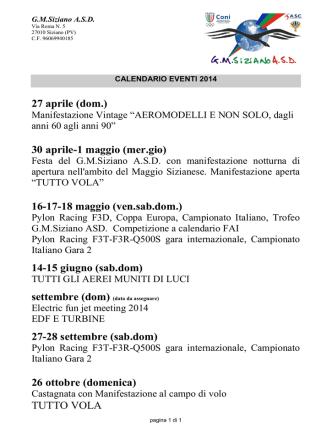 Calendario - GMSiziano
