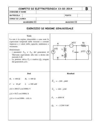 compito di elettrotecnica 13-02-2014 esercizio di regime sinusoidale
