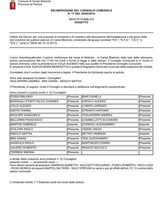 Delibera 17 del 25/02/2014 - Comune di Campi Bisenzio