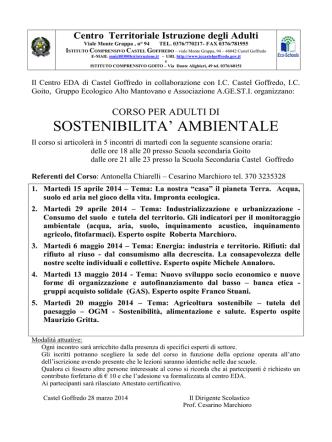 Calendario definitivo Corso Sostenibilità Ambientale