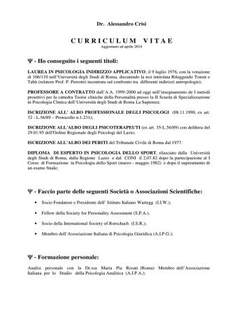 cv Alessandro Crisi - Dipartimento di Psicologia