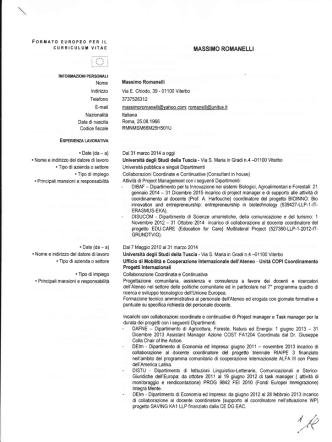 Curriculum vitae ROMANELLI - Università degli Studi della Tuscia