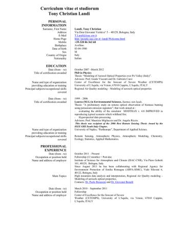 Curriculum vitae et studiorum Tony Christian Landi - ISAC