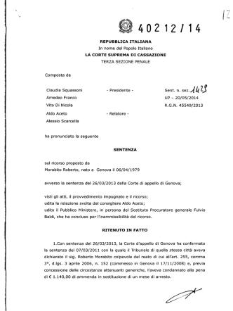 Corte di Cassazione – Sentenza n. 40212-2014