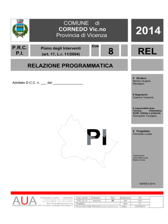COMUNE di CORNEDO Vic.no Provincia di Vicenza RELAZIONE