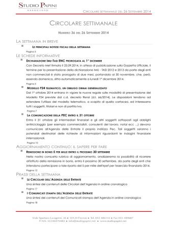 Circolare Settimanale N°36 del 26.09.2014