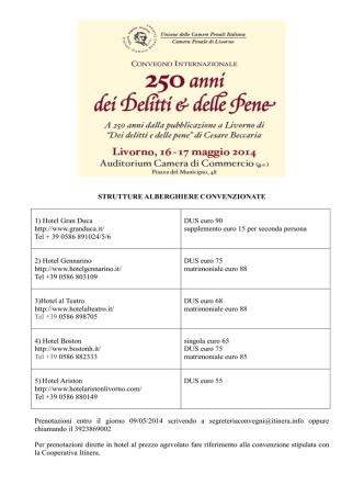 Convenzioni alberghiere Convegno Livorno 16/17 maggio 2014