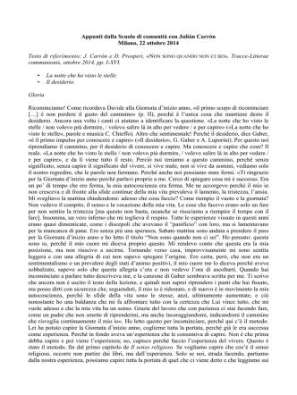 22 ottobre 2014. Appunti SdC con Carrón