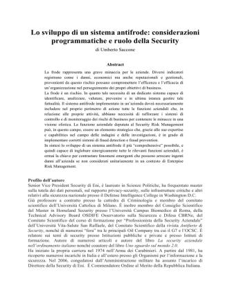 considerazioni programmatiche e ruolo della Security