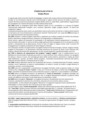 CURRICULUM VITAE DI VANIA PUCCI