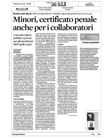 2014 05 05 .. Assunzioni per Lavoro con Minori, Datore Obbligato a