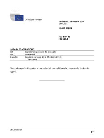 Consiglio europeo (23 e 24 ottobre 2014).