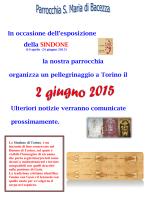 Primo avviso sulla gita alla Sacra Sindone del 02-06-2015