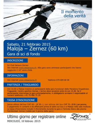 Annuncio Maloja - Zernez 2015 - Club da skiunzs Sarsura Zernez