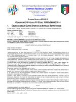 Comunicato Ufficiale n. 65 del 19 Novembre 2014