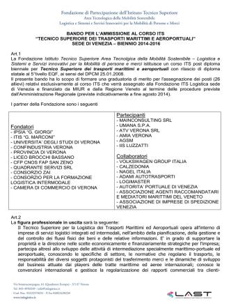 bando venezia 2014 - Area tecnologica della mobilità sostenibile