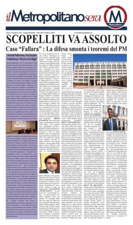 """Caso """"Fallara"""" : La difesa smonta i teoremi del PM"""