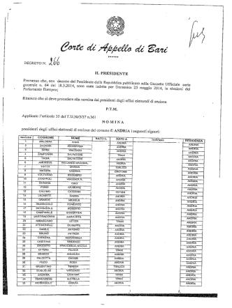 DECRETO N. rî - Comune di Andria