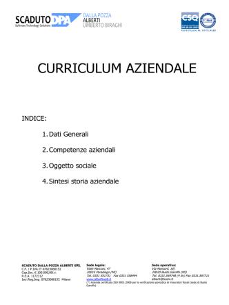 Curriculum aziendale SCADUTO DALLA POZZA