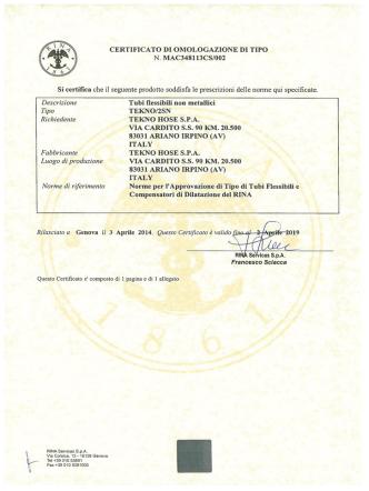 CERTIFICATO DI OMOLOGAZIONE DI TIPO N. MAC348113CS/002