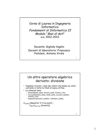 Calcolo relazionale - E-learning del Polo di Ingegneria